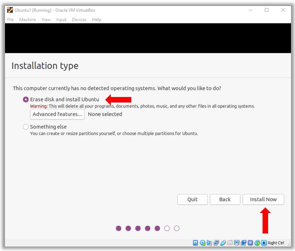 Ubuntu Erase disk and install Ubuntu Warning