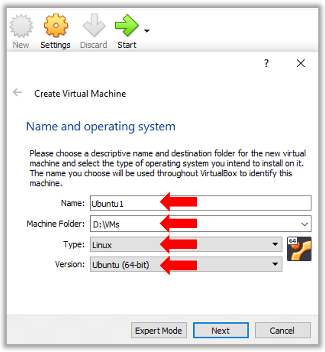 Specify VirutualBox Ubuntu VM name storage location type as Linux and 64-bit