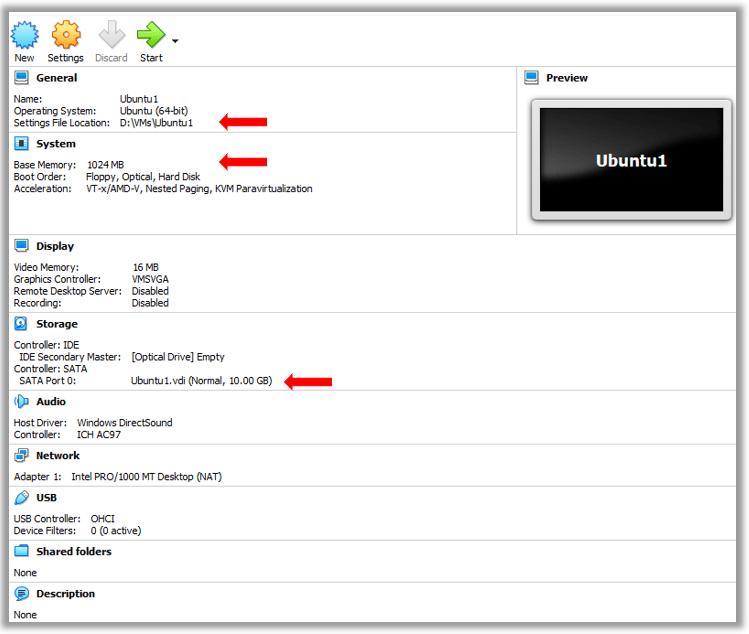 VirutualBox Ubuntu Linux VM creation details