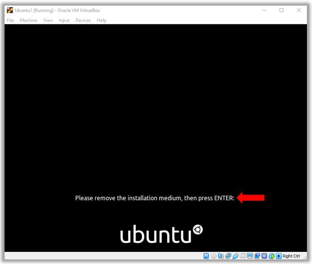 Remove Ubuntu install medium press enter
