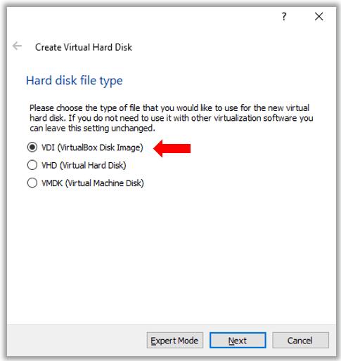 VirutualBox Ubuntu Linux VM VDI Hard disk creation