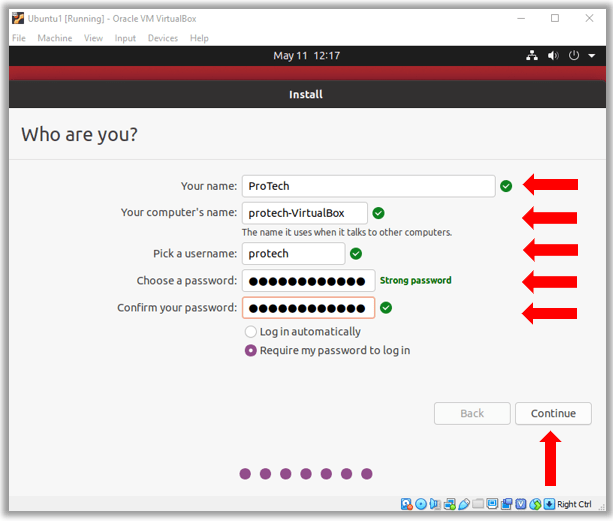 Ubuntu Install computer name password username