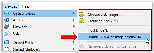 Unmount Ubuntu install image iso before restarting VM VirtualBox