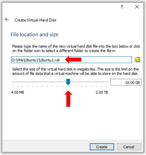 VirutualBox Ubuntu Linux VM Hard disk creation size and location