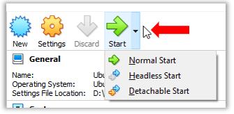 VirutualBox Ubuntu Linux VM Normal vs Headless vs Detachable Start