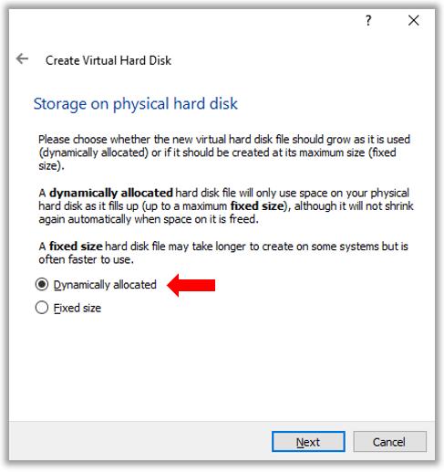 VirutualBox Ubuntu Linux VM Dynamically Allocated vs Fixed size hard disk