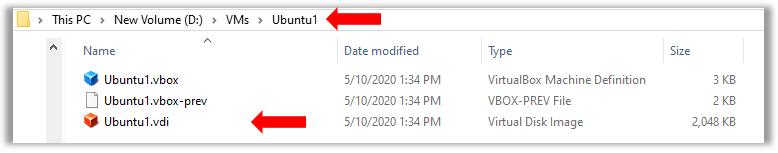VirutualBox Ubuntu Linux VM vdi files in windows explorer