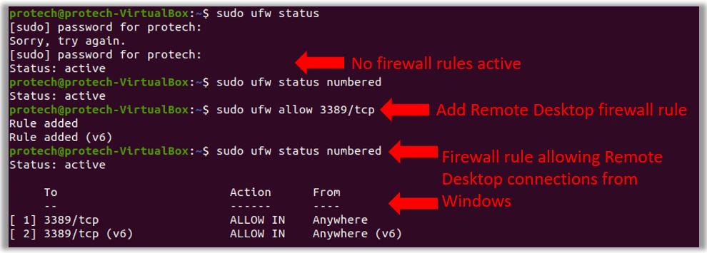 Configure Ubuntu firewall rule for windows remote desktop connection port 3389