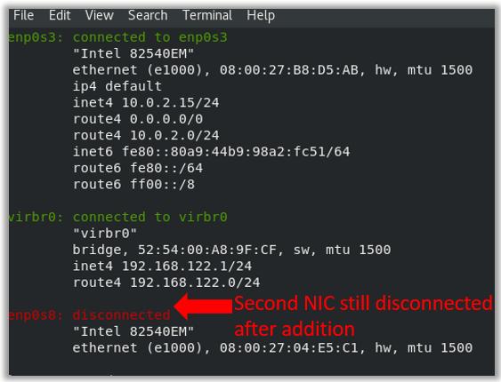 enp0s8 centos8 bridged adapter disconnected error vbox