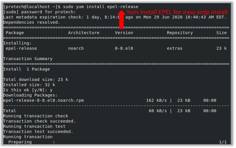 epel-release centos 8 install virtualbox vbox repository xrdp