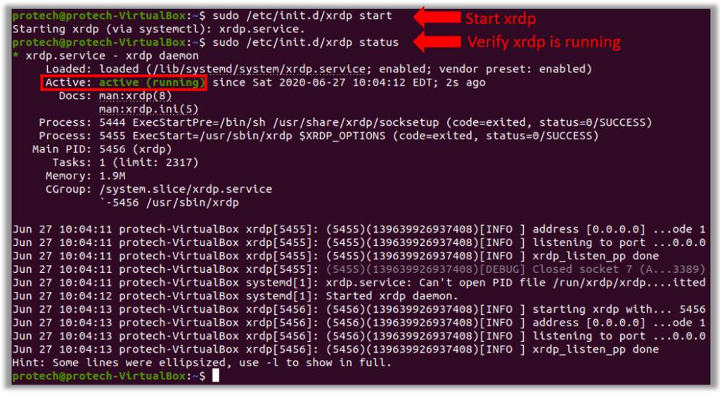 ubuntu xrdp daemon start initd remote desktop connection from windows