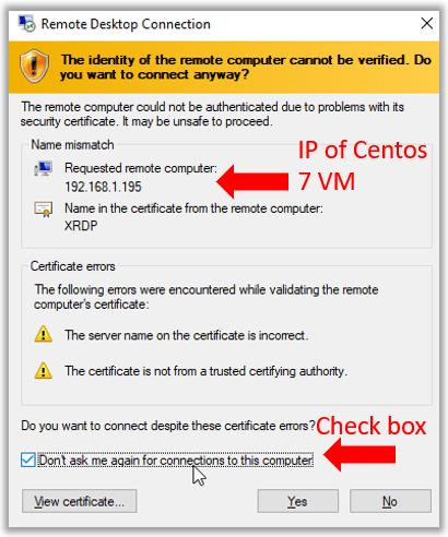 vbox remote desktop connection xrdp ip address certificate error